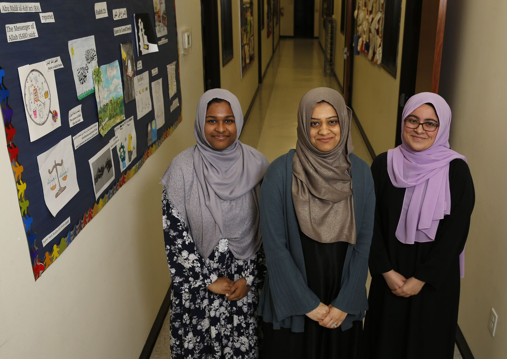 Student Sadia Sarwer (from left), principal Fawzia Belal and outgoing valedictorian Iman Ikram have had a unique experience at Richardson's Qalam Collegiate Academy, the only all-girls accredited Islamic school in Texas.