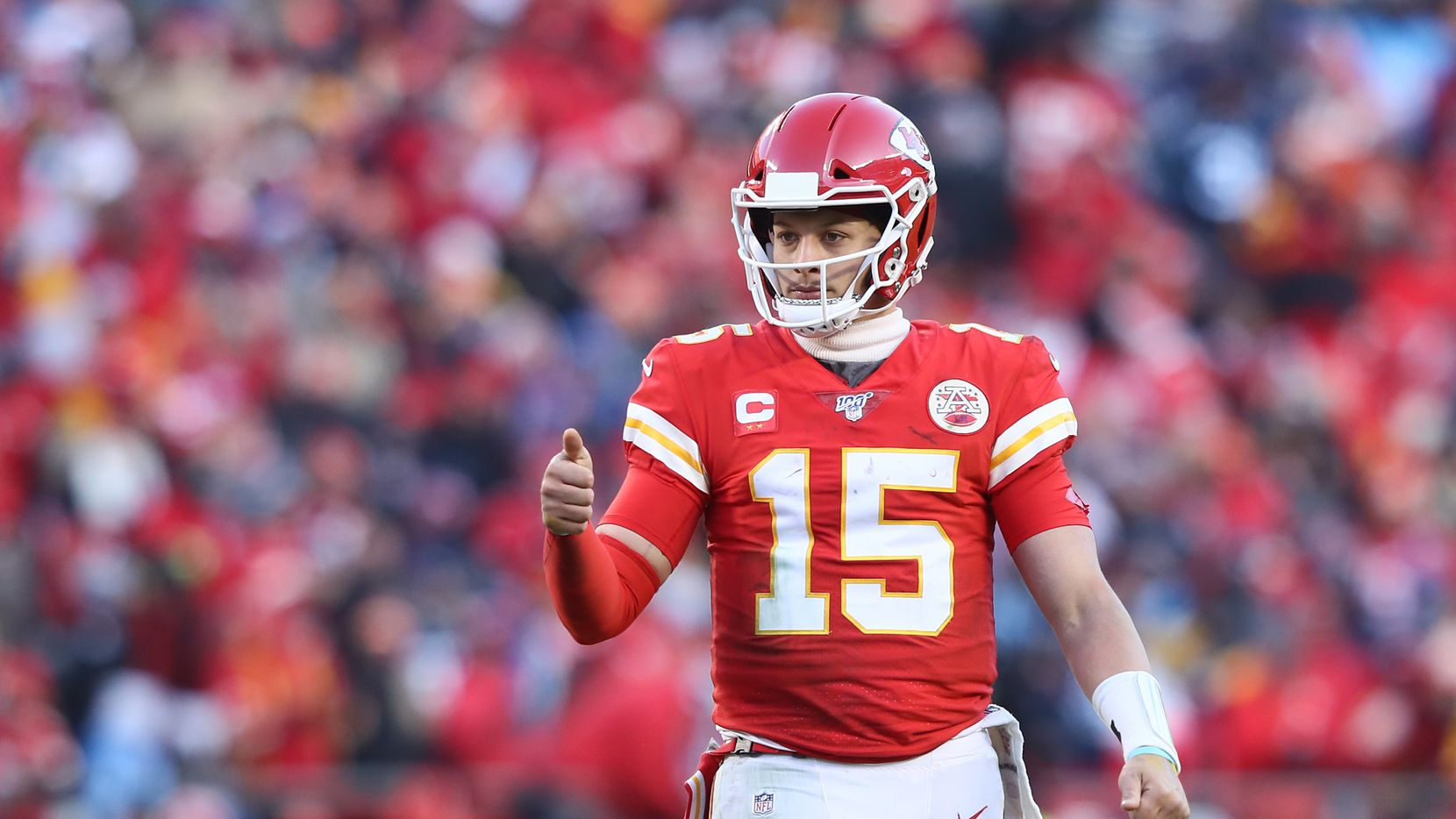KANSAS CITY, MISSOURI - JANUARY 19: Patrick Mahomes #15 of the Kansas City Chiefs reacts after a play in the second half against the Tennessee Titans in the AFC Championship Game at Arrowhead Stadium on January 19, 2020 in Kansas City, Missouri.
