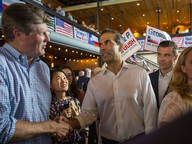 George P. Bush shakes hands with a supporter after holding a Campaign Kick-Off to announce his candidacy for Texas Attorney General at Buford's Backyard Beer Garden on June 2, 2021 in Austin, Texas.