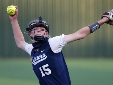 Flower Mound pitcher Landrie Harris (15) throws a pitch in the second inning as Southlake Carroll High School hosted Flower Mound High School in 6A Region I semifinal softball game at Guyer High School in Denton on Friday night, May 21, 2021.