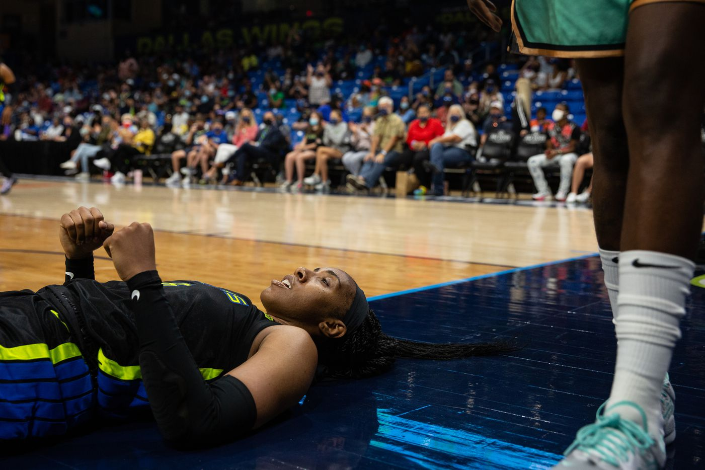 Dallas Wings forward Kayla Thorton (6) celebrates after a successful layup shot against NY Liberty at College Park Center in Arlington, TX on September 11, 2021.  (Shelby Tauber/Special Contributor)