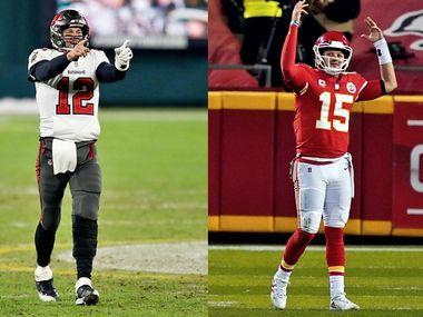 El mariscal de los Buccaneers de Tampa Bay, Tom Brady (izq), y el de los Chiefs de Kansas City, Patrick Mahomes, protagonizarán el duelo del Super Bowl LV.