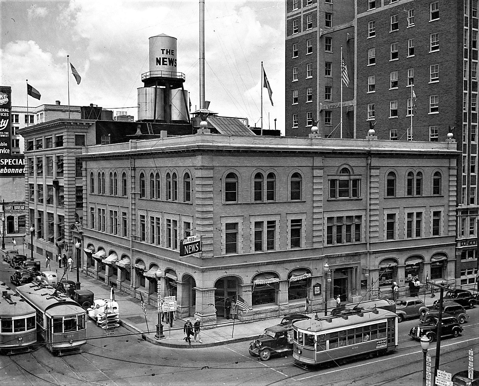The rise of the automobile helped spell the end of streetcars (shown outside the long-ago Dallas Morning News building) in Dallas from the 1950s until they made a comeback in the 1980s.