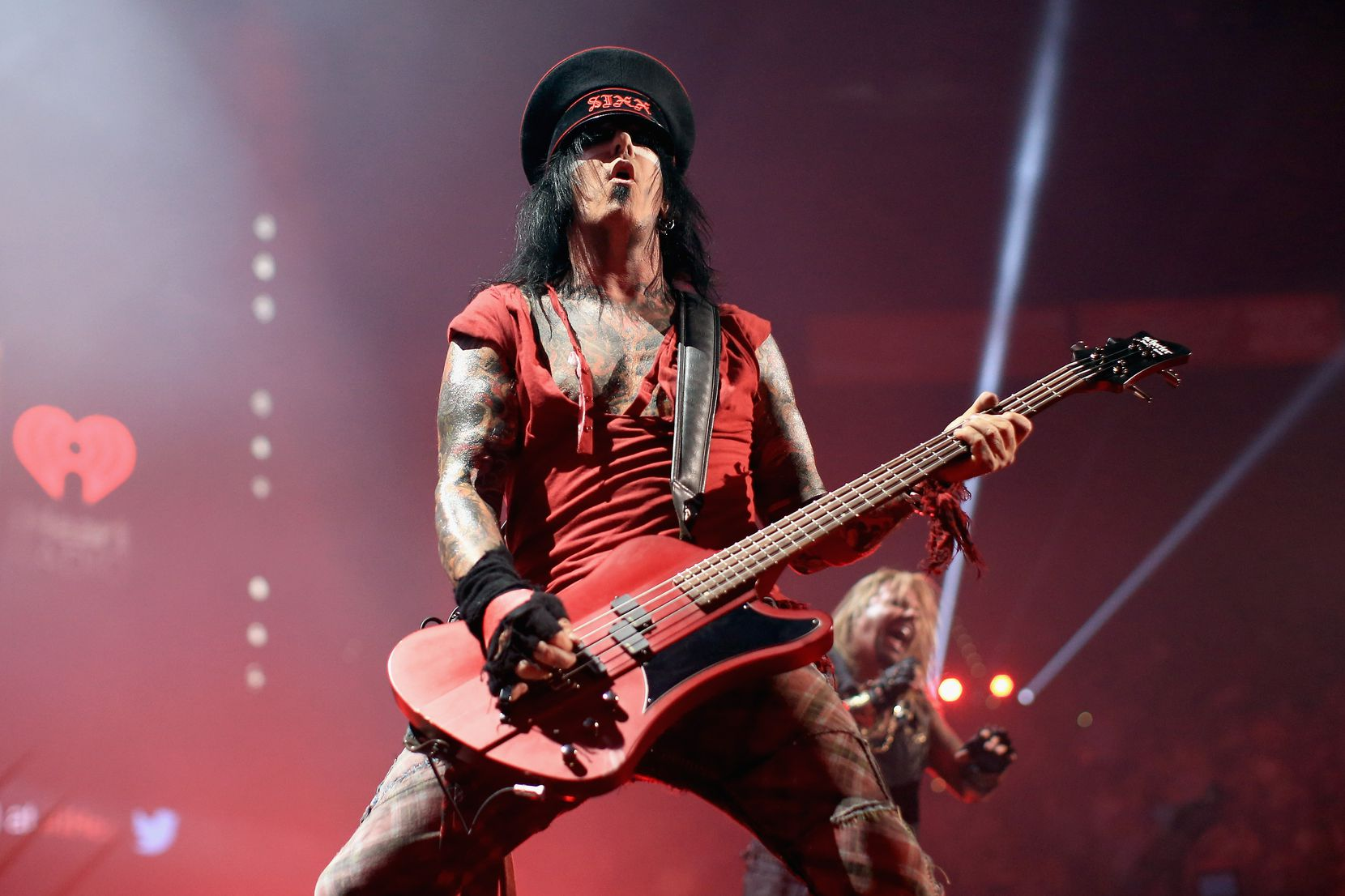 LAS VEGAS, NV - SEPTEMBER 19: Musician Nikki Sixx of Motley Crue performs onstage during the 2014 iHeartRadio Music Festival at the MGM Grand Garden Arena on September 19, 2014 in Las Vegas, Nevada.