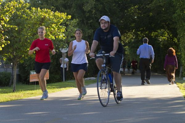 The Katy Trail in the heart of Dallas is popular for, among other reasons, the space it provides runners and bicyclists.