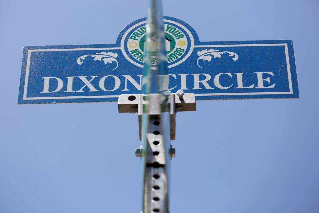 A street sign near Stonewood Terrace Apartments in the Dixon Circle neighborhood. (Andy Jacobsohn/The Dallas Morning News)