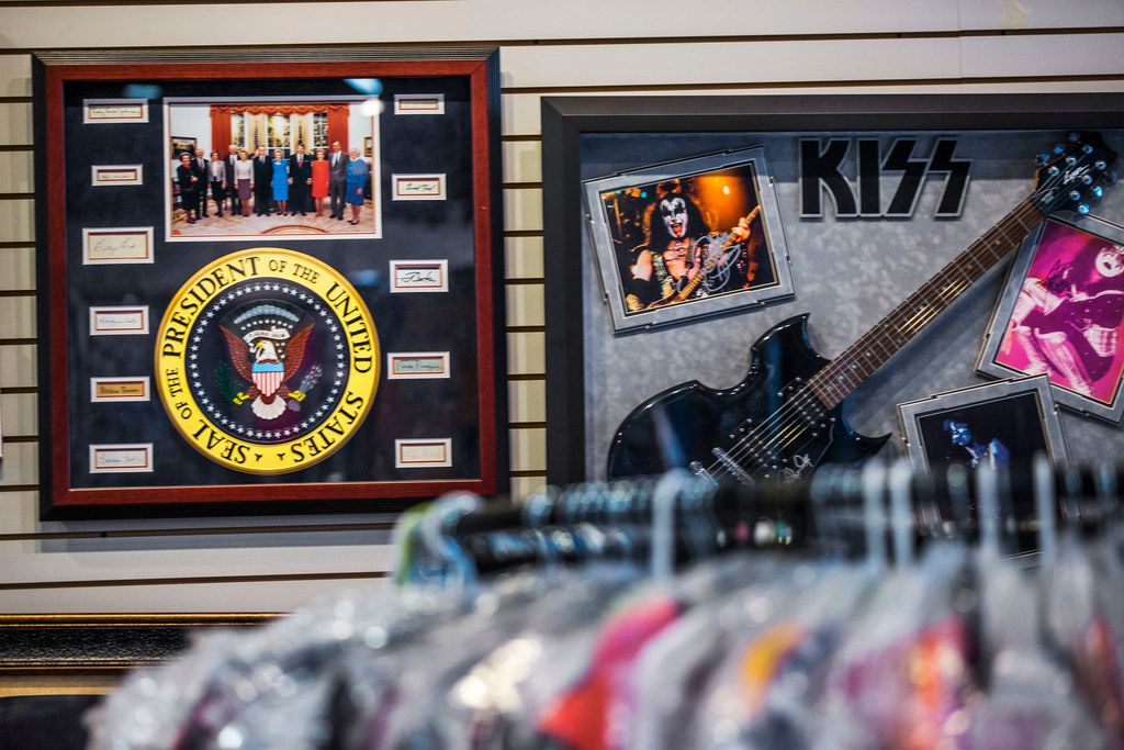 Among the items for sale at Collector's Heaven are a photograph signed by five former presidents and six first ladies and a guitar autographed by Paul Stanley of the band KISS.