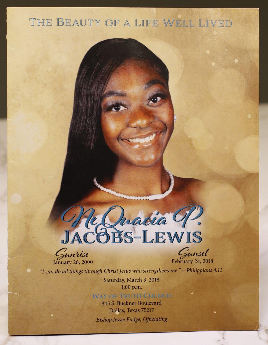 The  funeral memorial book of NeQuacia Jacobs.