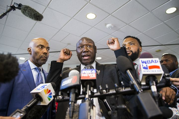 "Ben Crump, flanked by fellow Jean family attorneys Daryl K. Washington and Lee Merritt, said the guilty verdict was a victory ""for so many black and brown unarmed human beings all across America."""