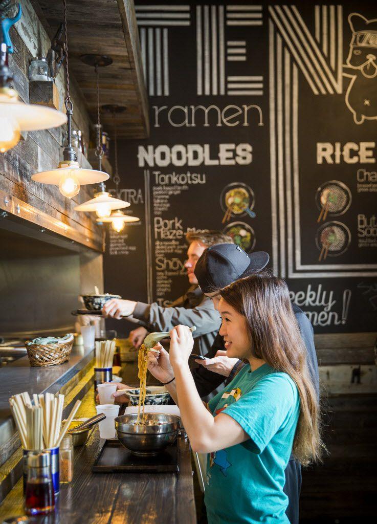 Julie Tran eats lunch at Ten Ramen Shop on Thursday, May 21, 2015, in Dallas.