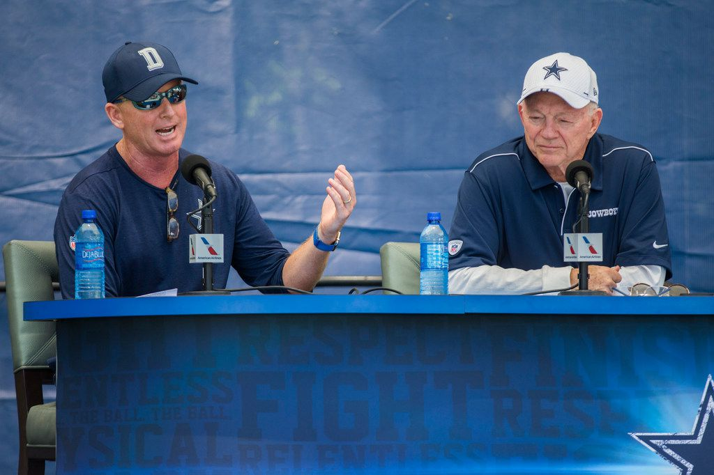 Dallas Cowboys Head Coach Jason Garrett and Owner Jerry Jones speak to reporters during an opening press conference at training camp in Oxnard, California on Friday, July 26, 2019. (Ashley Landis/The Dallas Morning News)