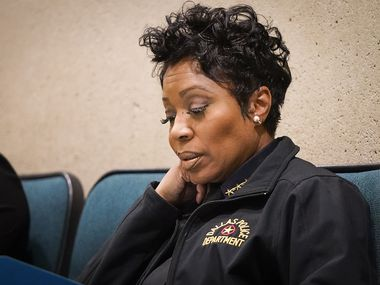 Dallas Police Chief U. Renee Hall listens in during a city council meeting on Wednesday, Jan. 8, 2020, in Dallas.