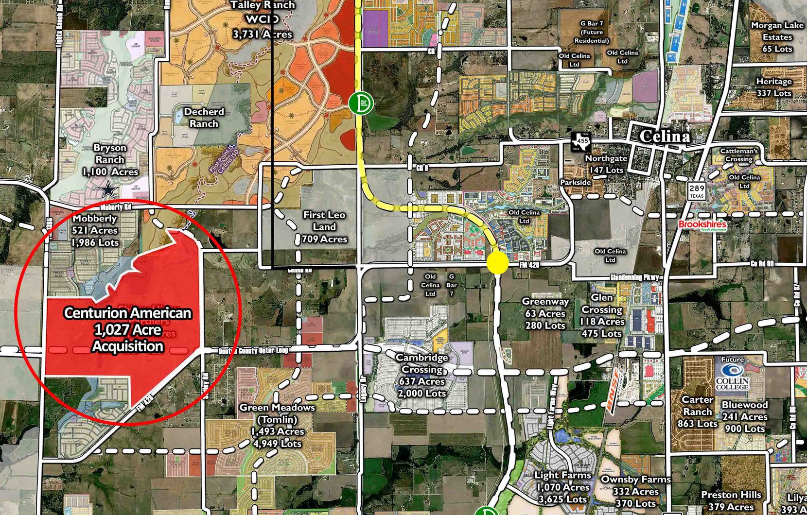 The just-acquired land is west of Celina.