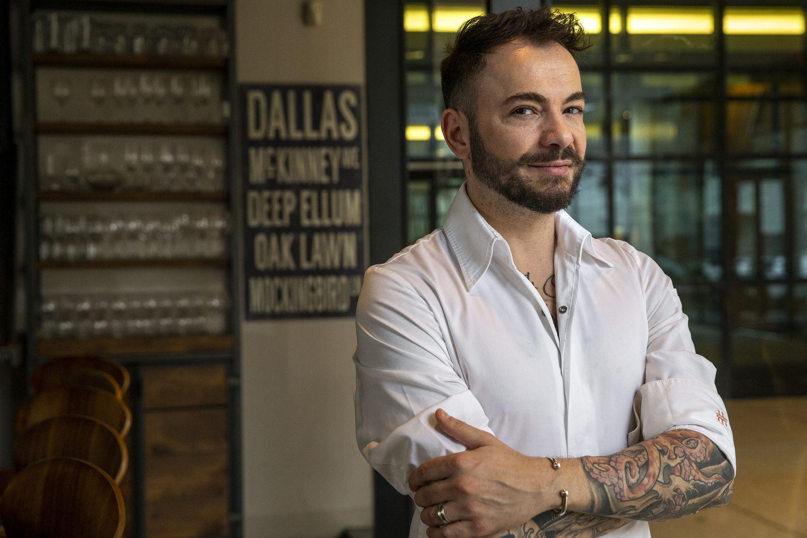 Chef Giuliano Matarese poses for a portrait at Mille Lire restaurant in Dallas