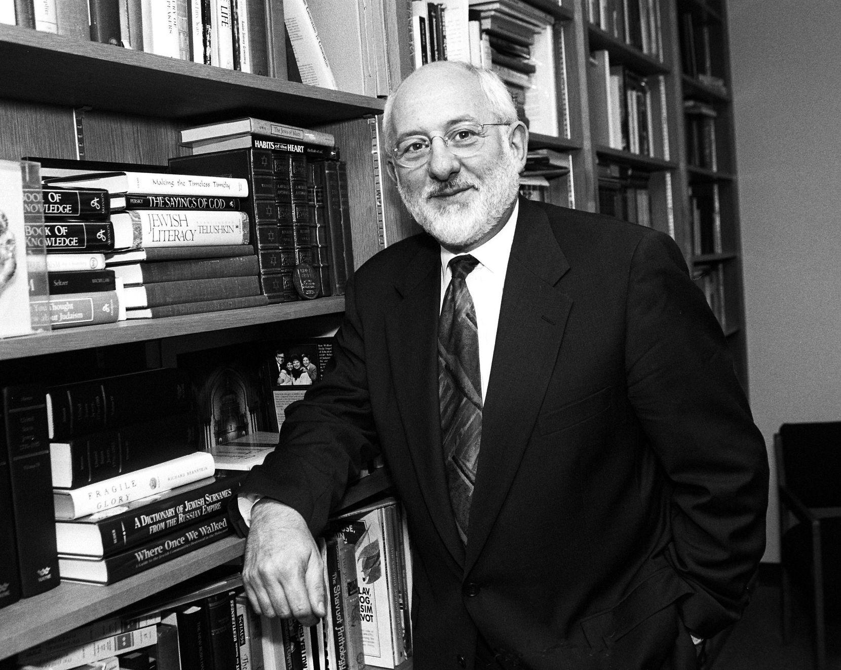 Rabbi Sheldon Zimmerman in his  office at Temple Emanu-El in 1994.