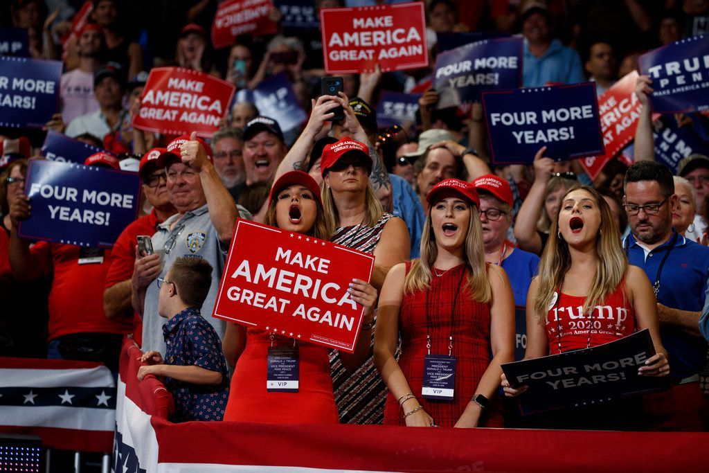 Supporters of President Donald Trump cheer as he arrives to speak at his reelection kickoff rally at the Amway Center on June 18, 2019, in Orlando.