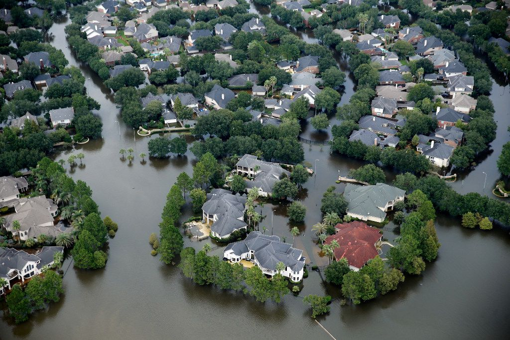 A flooded neighborhood off North Eldridge Parkway near the Addicks Reservoir in West Houston, Texas, was inundated with water, Wednesday, August 30, 2017. Hurricane Harvey inundated the Houston area with several feet of rain.