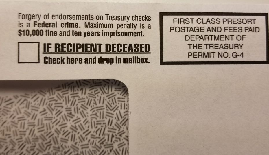 Envelopes used by the IRS to send stimulus payments have a checkbox to indicate if the recipient is deceased, with instructions to return the check.