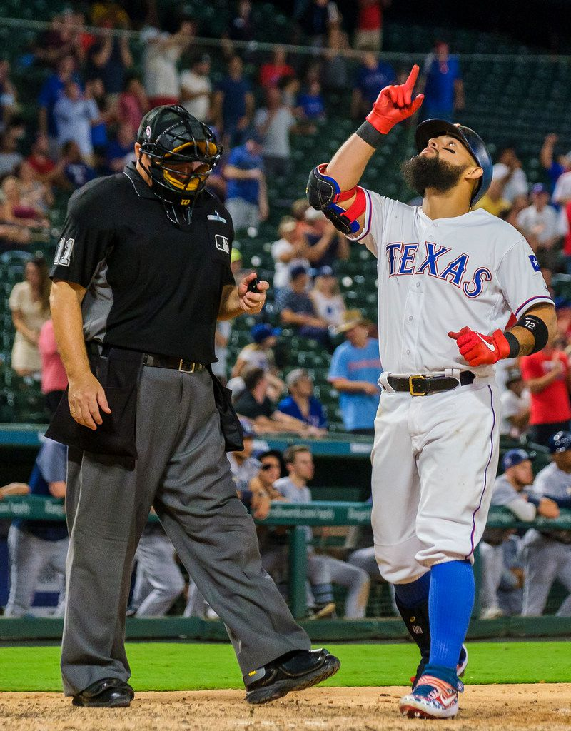 Texas Rangers second baseman Rougned Odor celebrates after hitting a 3-run home run during the seventh inning against the Tampa Bay Rays at Globe Life Park on Wednesday, Sept. 11, 2019, in Arlington. (Smiley N. Pool/The Dallas Morning News)