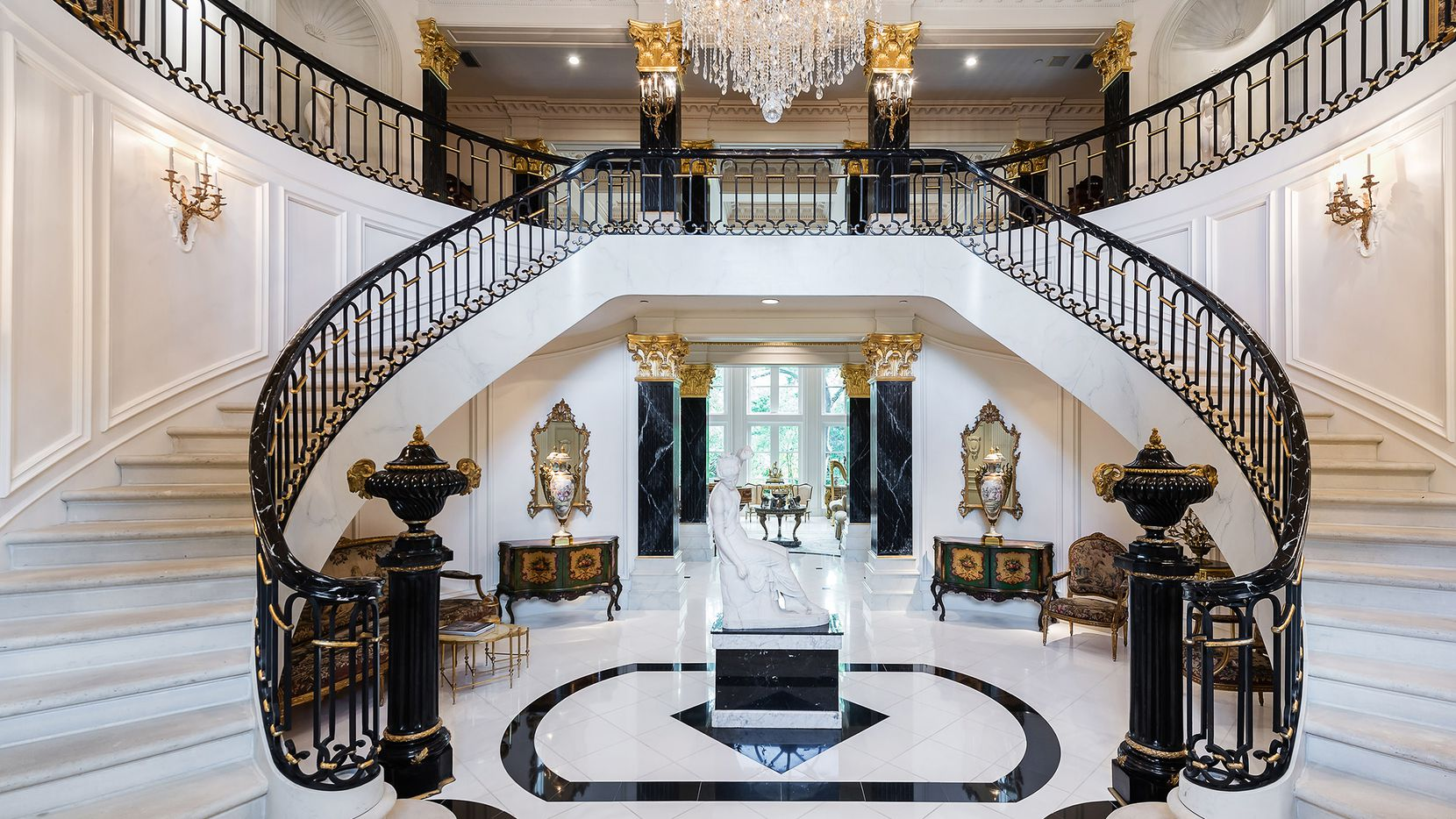 The 20,000-square-foot estate at 4444 Valley Ridge Road in Preston Hollow offers numerous indoor and outdoor amenities.