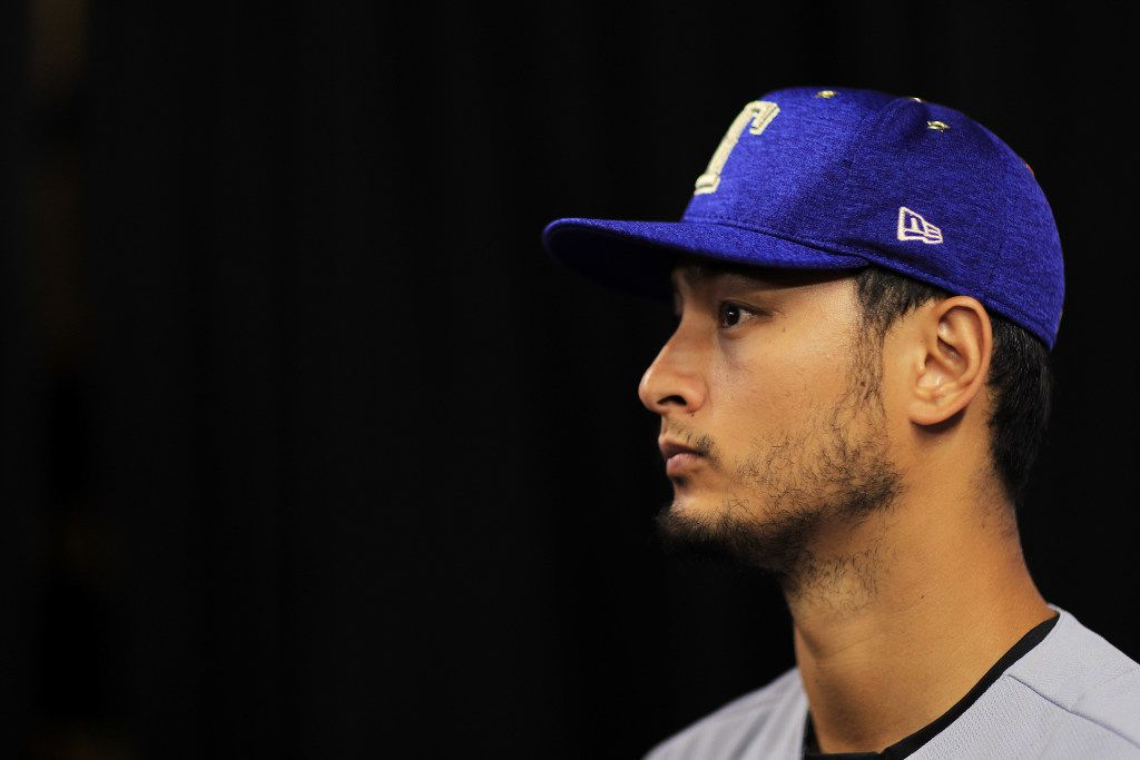 MIAMI, FL - JULY 10:  Yu Darvish #11 of the Texas Rangers and the American League speaks with the media during Gatorade All-Star Workout Day ahead of the 88th MLB All-Star Game at Marlins Park on July 10, 2017 in Miami, Florida.  (Photo by Mike Ehrmann/Getty Images)