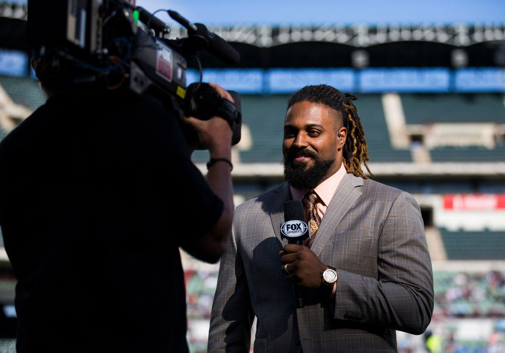 FOX Sports sideline reporter and New Orleans Saints defensive end Cam Jordan talks on camera during an XFL game between the Dallas Renegades and the New York Guardians on Saturday, March 7, 2020 at Globe Life Park in Arlington. (Ashley Landis/The Dallas Morning News)
