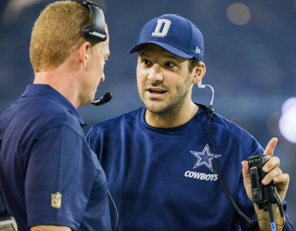 FILE - Injured Dallas Cowboys quarterback Tony Romo (9) talks to Dallas Cowboys head coach Jason Garrett on the sidelines during the third quarter of their game against the Seattle Seahawks on Sunday, November 1, 2015 at AT&T Stadium in Arlington, Texas.   (Ashley Landis/The Dallas Morning News)