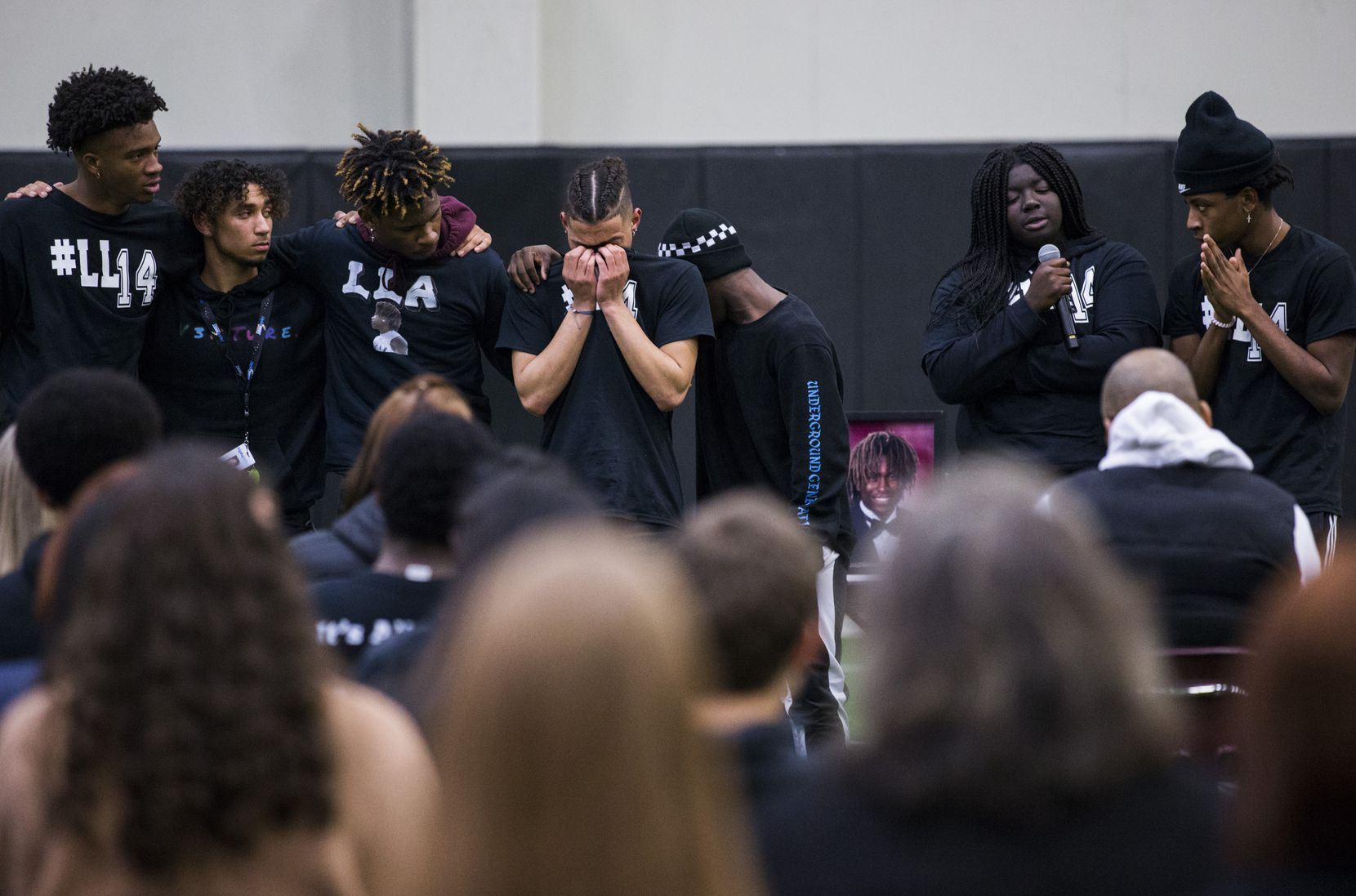 Student athletes speak during a vigil for Wylie High School student Azaan Abdellatif on Thursday, January 30, 2020 at Wylie High School in Wylie, Texas. Abdellatif was found dead at his home on Wednesday morning.