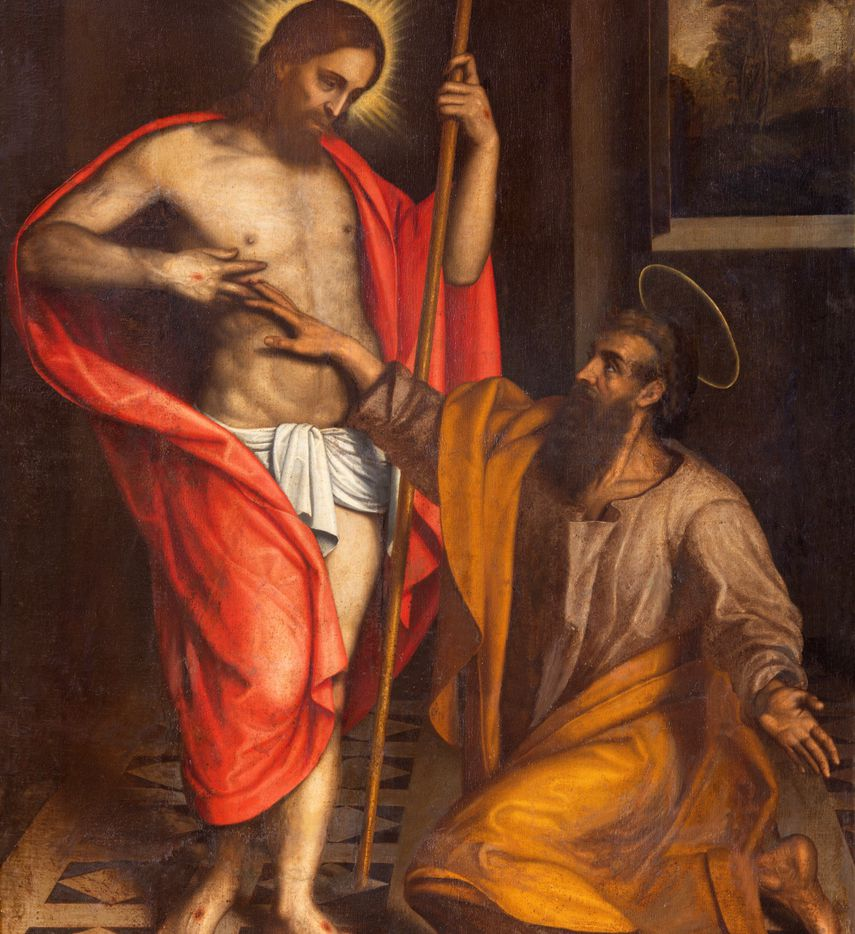 """The painting """"The Doubt of St. Thomas"""" by an unknown 16th century artist hangs in the Chiesa di San Faustino e Giovita church in Brescia, Italy."""
