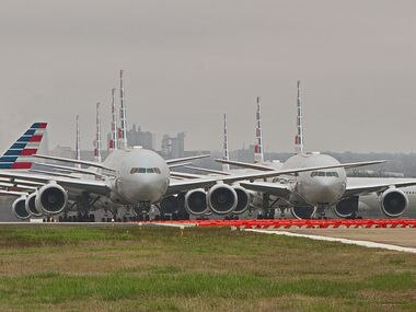 American Airlines planes parked for storage at Tulsa International Airport in Oklahoma.