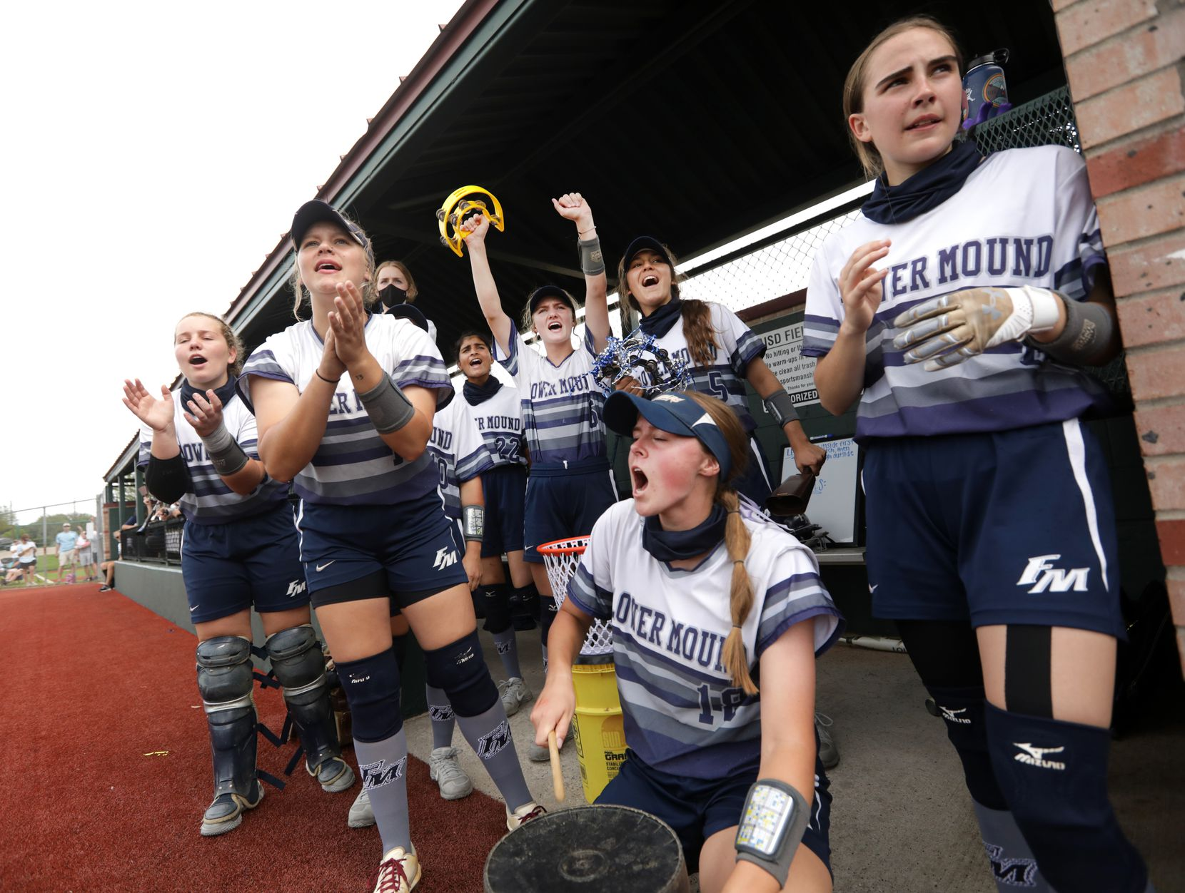 Flower Mound High School players cheer during a softball playoff game against Allen High School at Allen High School in Allen, TX, on May 15, 2021. (Jason Janik/Special Contributor)