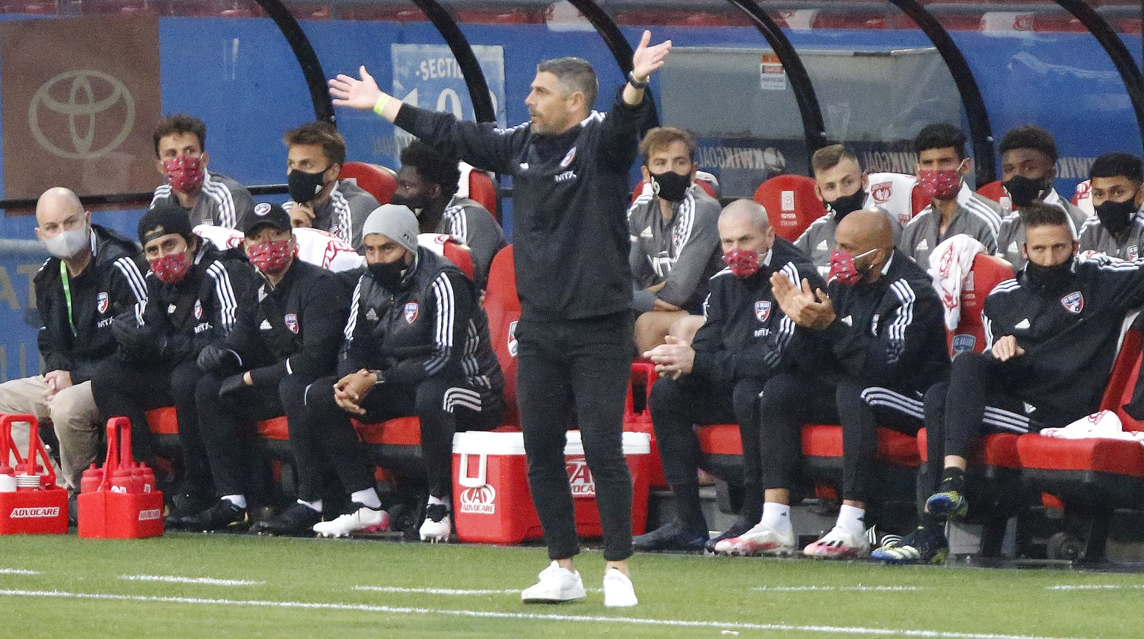FC Dallas head coach Luchi Gonzalez questions a no call during the first half as FC Dallas hosted Real Salt Lake at Toyota Stadium in Frisco on Saturday, May 22, 2021. (Stewart F. House/Special Contributor)