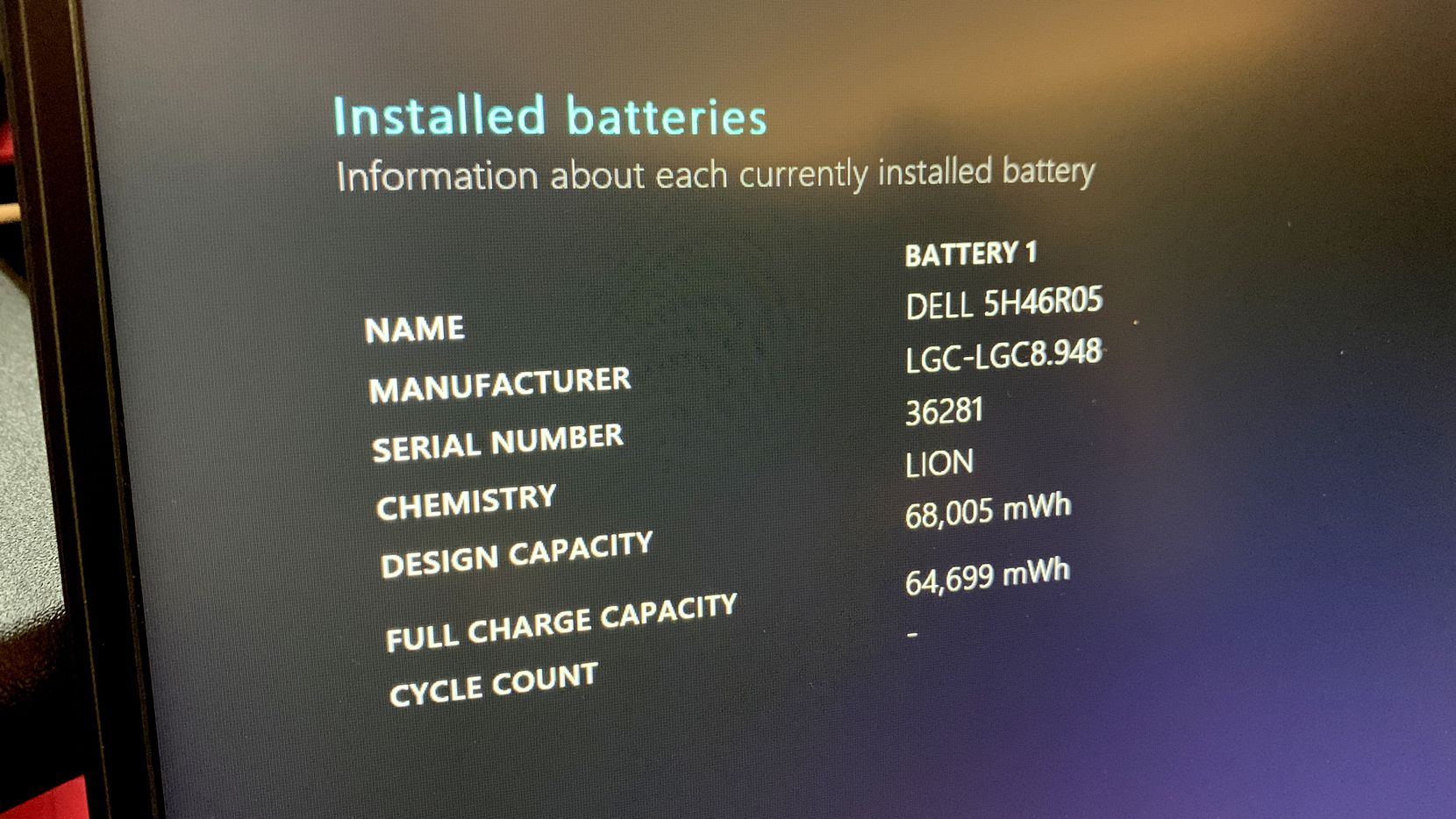 The battery report from Windows PowerShell. This report shows no battery cycles because the laptop is new.