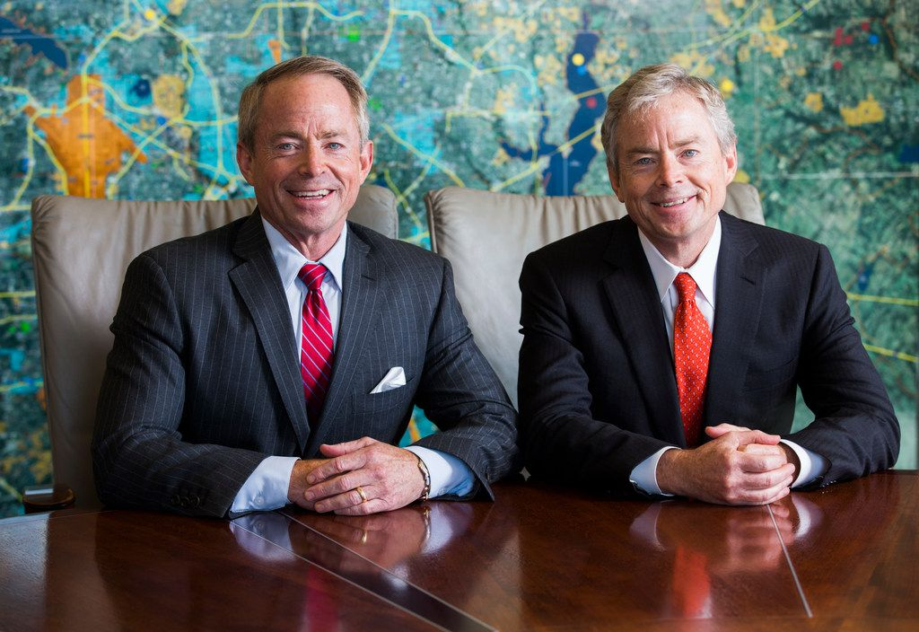 Texas Senator Don Huffines, right, and his twin brother, Phillip Huffines, who is running for a place in Texas Senate, pose for a portrait on Thursday, October 5, 2017 at their offices on Douglas Avenue in Dallas. (Ashley Landis/The Dallas Morning News)