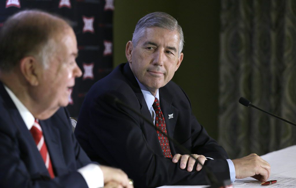 After two days of meetings, Big 12 Commissioner Bob Bowlsby (right) and University of Oklahoma President David Boren revealed a unanimous vote against expanding beyond the current 10 members.