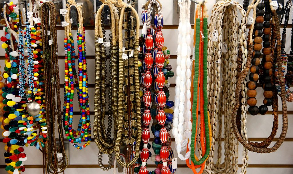 Necklaces are on display in the jewelry section at Pan African Connection.
