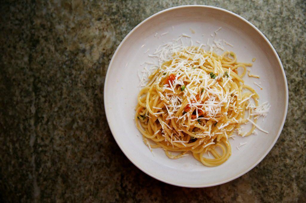 Spaghetti with Sun Gold Tomatoes, Pickled Jalapeño, Ricotta Salata and Basil