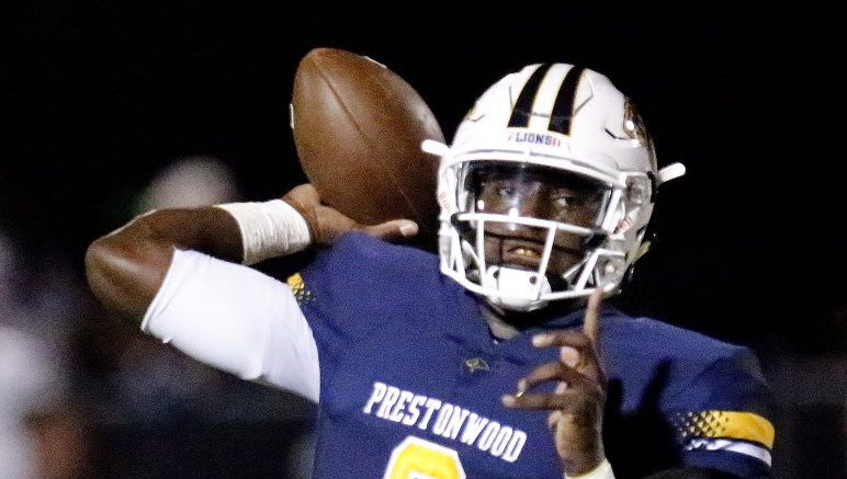 Prestonwood Christian Academy quarterback M.J. Rivers (8) throws a pass during the first half as Prestonwood Christian Academy hosted Lake Dallas High School at Lions Stadium in Plano on Friday night, September 9, 2016.  (Stewart F. House/Special Contributor)