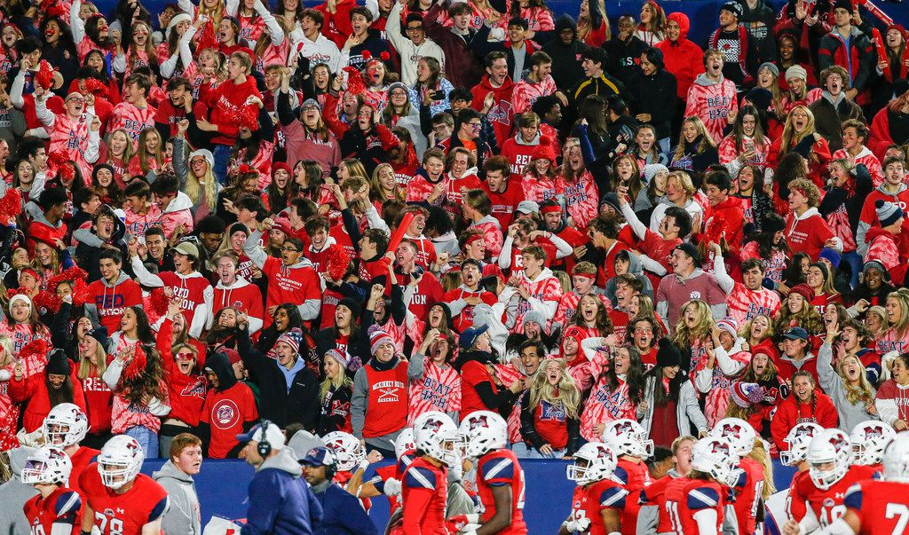 The McKinney Boyd student section celebrates a touchdown by Ja Tyler Shaw, not pictured, during the second quarter of a high school football matchup between McKinney and McKinney Boyd at McKinney ISD Stadium on Friday, Nov. 8, 2019 in McKinney, Texas. (Ryan Michalesko/The Dallas Morning News)