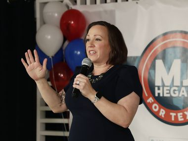 Democratic U.S. Senate candidate MJ Hegar speaks to supporters during her election night party in Austin, Texas, Tuesday, March 3, 2020.