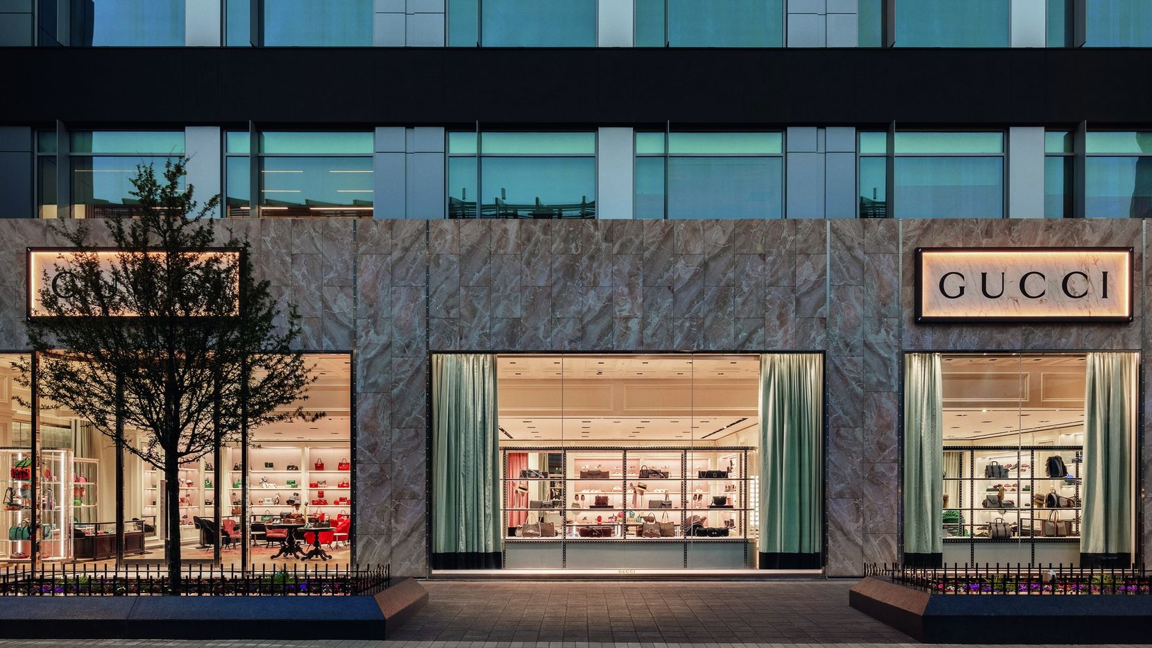The exterior of the new Gucci store in Plano's Legacy West. It opened this month in more than 5,000 square feet. Gucci also has two stores in Dallas.