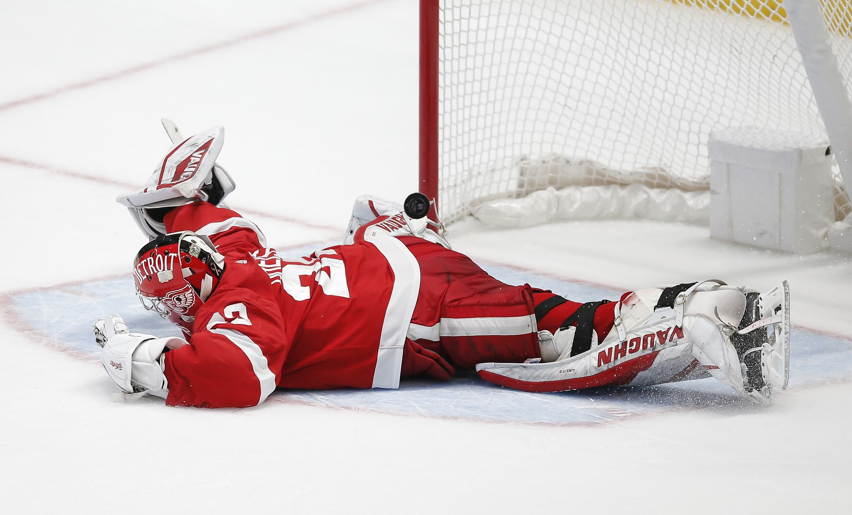 Detroit Red Wings goaltender Thomas Greiss (29) is unable to stop a shot from Dallas Stars forward Denis Gurianov during a shootout in an NHL hockey game in Dallas, Monday, April 19, 2021. Dallas won 3-2 in a shootout. (Brandon Wade/Special Contributor)