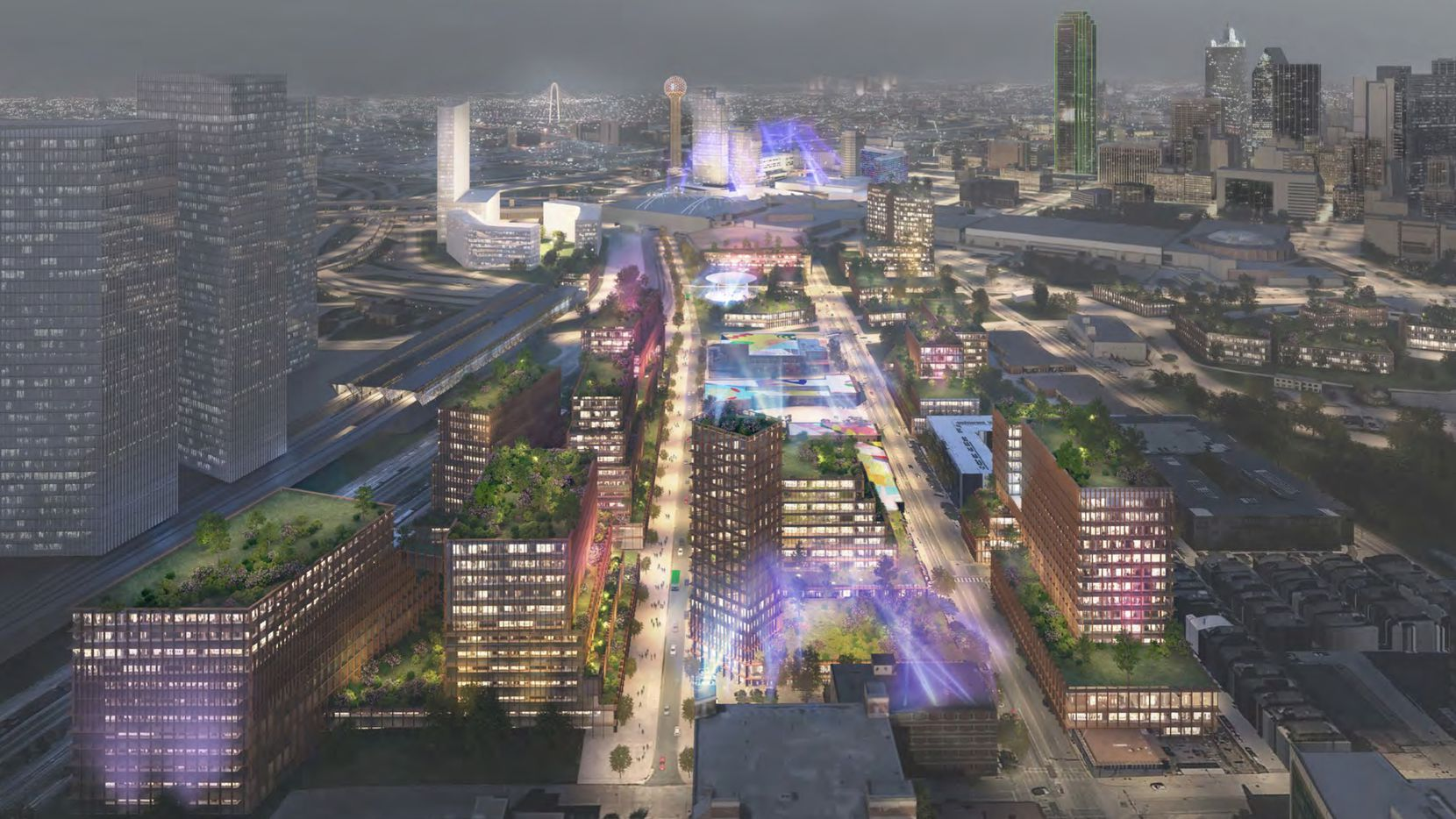The high-speed rail terminal would be the centerpiece of a new high-rise mixed-use district developer Matthews Southwest has proposed for the area south of downtown Dallas.