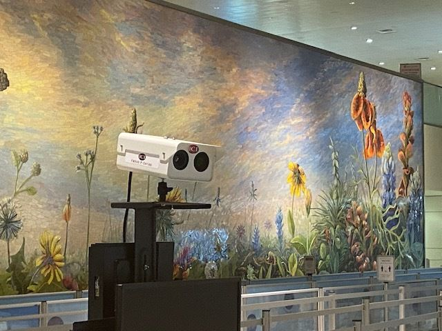 A thermal camera being tested at Dallas Love Field, through a partnership between the airport and Southwest Airlines.