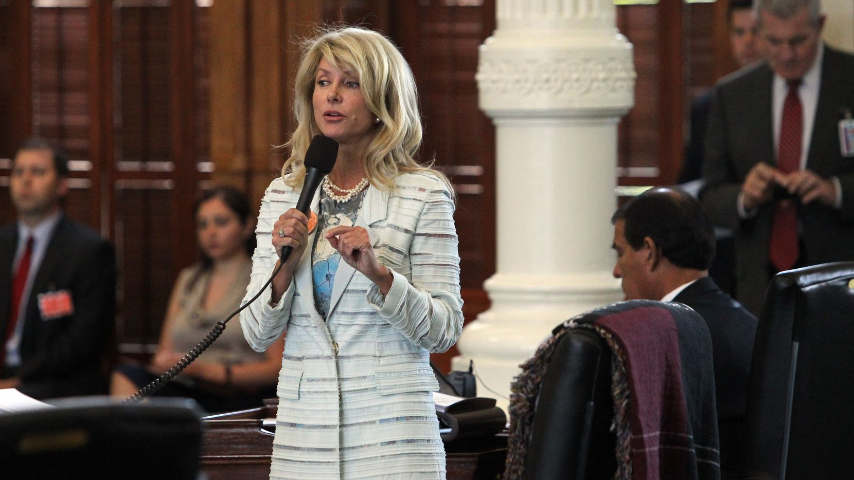 State Senator Wendy Davis filibusters during the final day of the legislative special session, as the Senate considers an abortion bills on Tuesday, June 25, 2013.  (Louis DeLuca/Dallas Morning News)