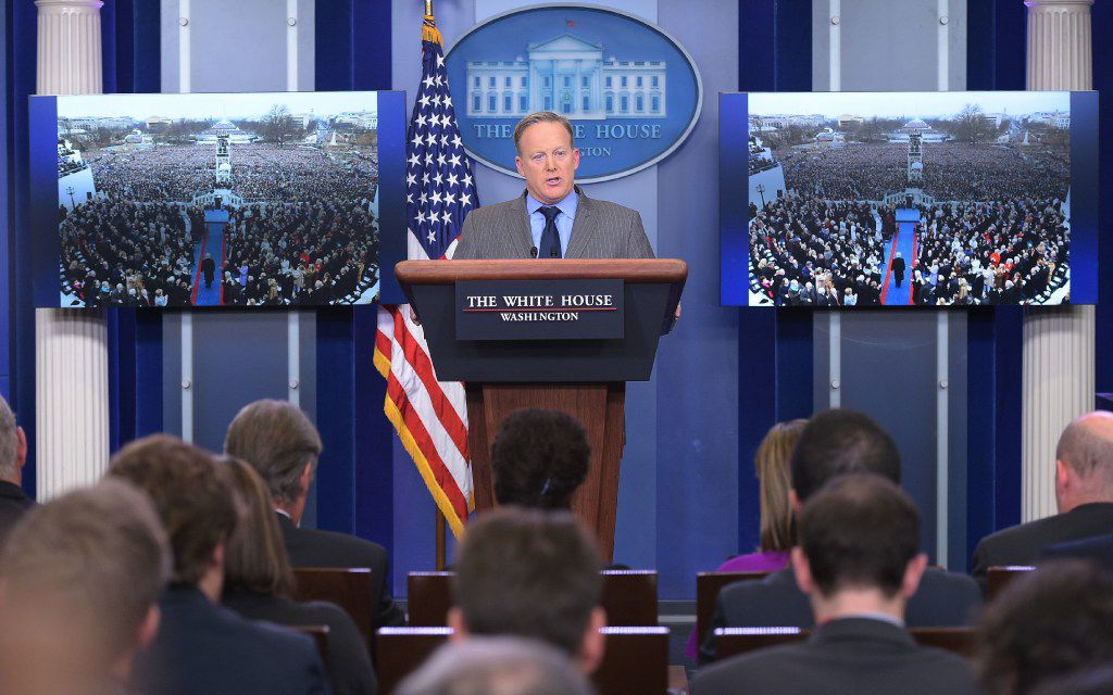 White House press secretary Sean Spicer called an impromptu briefing Saturday and accused reporters of deliberately underreporting the size of President Donald Trump's inauguration crowd. Spicer reeled off a string of false statements, but he appeared to walk back one of them on Monday. (Agence France-Presse)