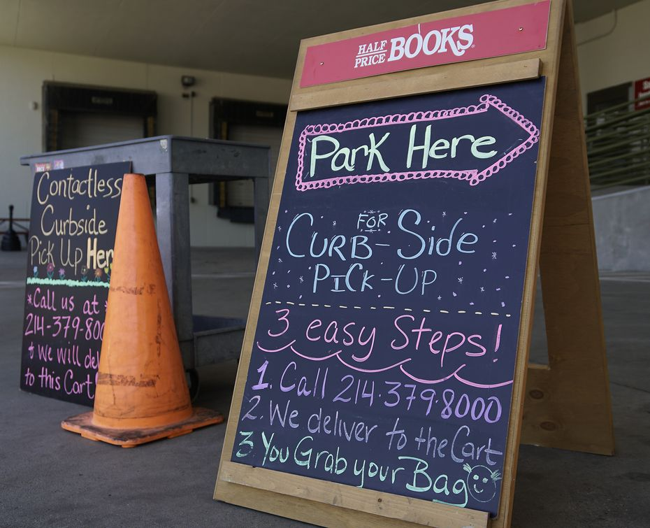 Half Price Books offers curbside pickup at the store on Northwest Highway in Dallas, Texas on Monday, May 18, 2020.