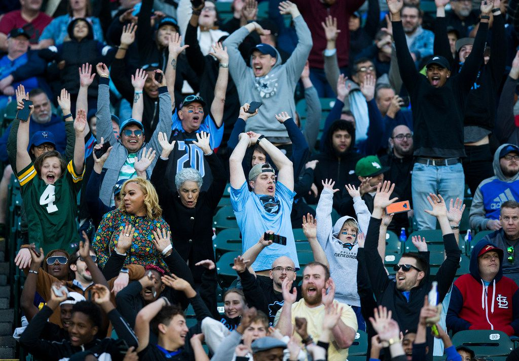 Fans do the wave during the third quarter as the Dallas Renegades play host to the New York Guardians on Saturday, March 7, 2020, at Globe Life Park in Arlington, Texas. (Ashley Landis/Dallas Morning News/TNS)