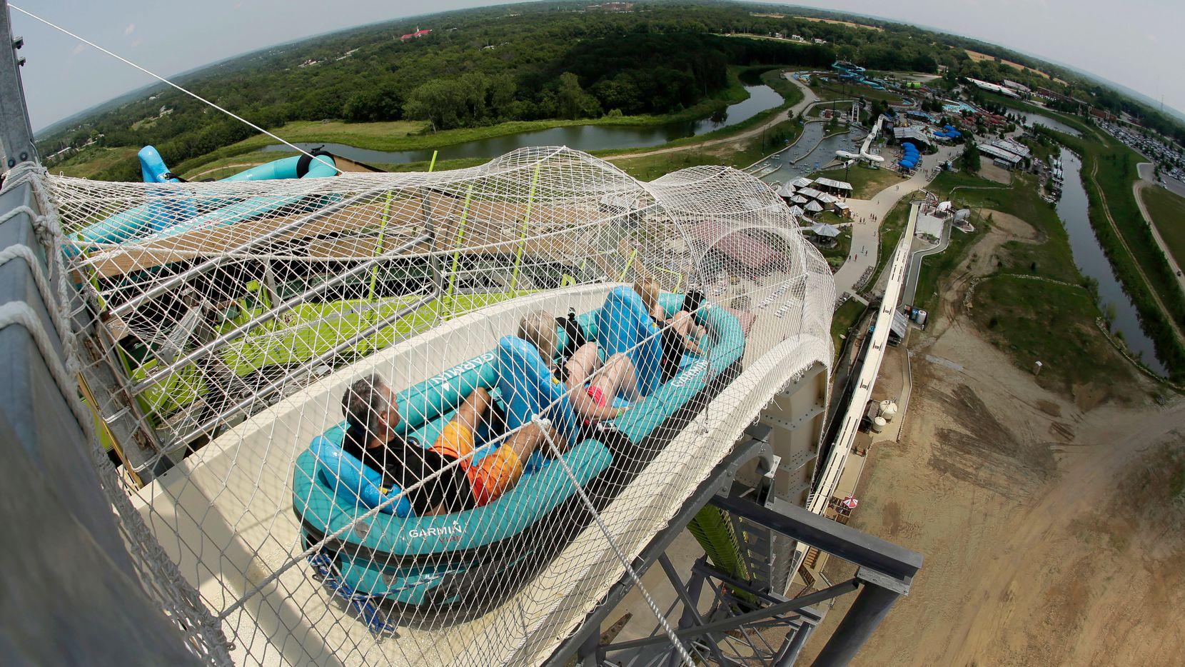 Riders go down the Verruckt water slide at Schlitterbahn in Kansas City, Kan.