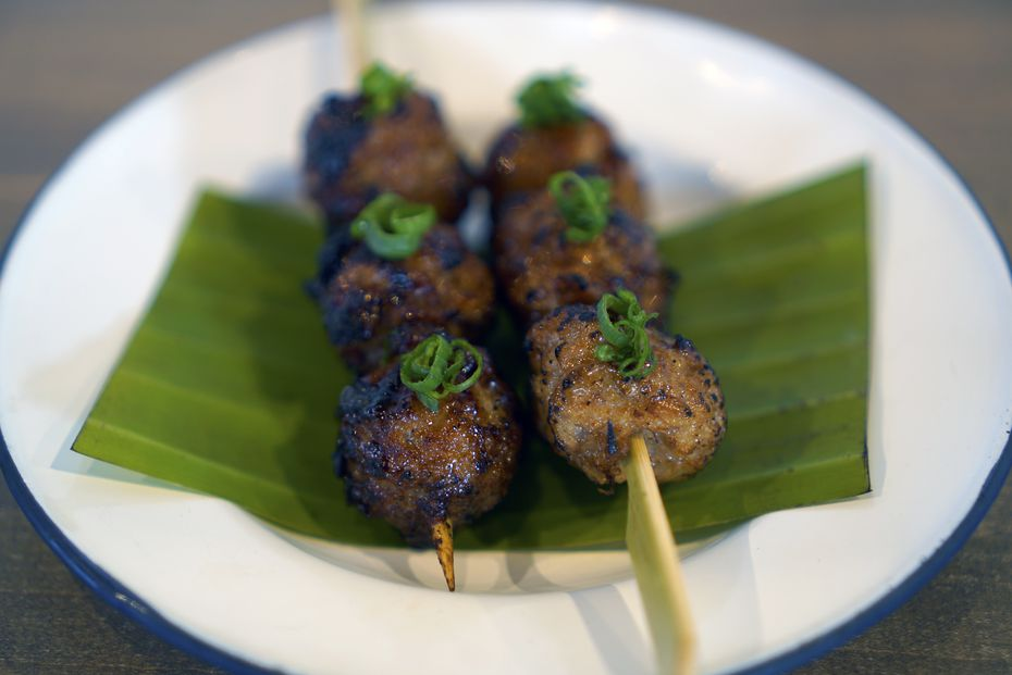 Another menu item at Khao Gang is chicken meatball skewers.